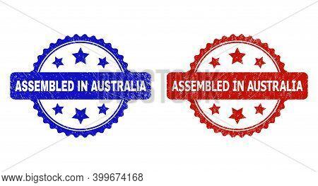 Rosette Assembled In Australia Watermarks. Flat Vector Grunge Watermarks With Assembled In Australia