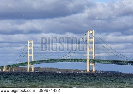 The Mighty Mackinac Bridge, One Of The World's Longest Suspension Bridges Spanning The Straits Of Ma