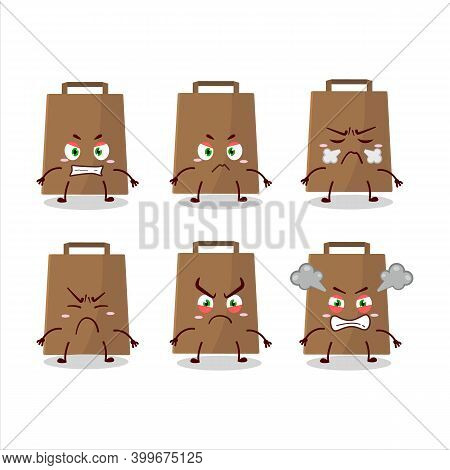 Papper Bag Cartoon Character With Various Angry Expressions