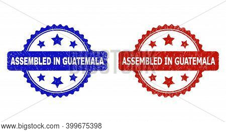 Rosette Assembled In Guatemala Stamps. Flat Vector Distress Seal Stamps With Assembled In Guatemala