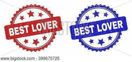 Rosette Best Lover Seal Stamps. Flat Vector Grunge Stamps With Best Lover Text Inside Rosette Shape
