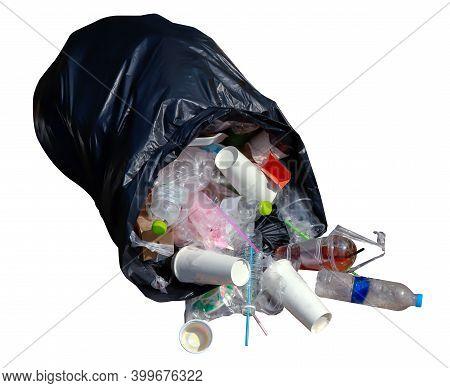 Trash Bag Plastic And Plastic Waste Isolated On White, Plastic Bag And Garbage Waste, Plastic Pollut