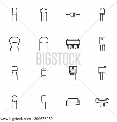 Capacitor Line Icons Set, Outline Vector Symbol Collection, Linear Style Pictogram Pack. Signs Logo