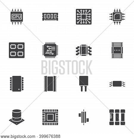 Computer Microchip Vector Icons Set, Modern Solid Symbol Collection, Filled Style Pictogram Pack. Si