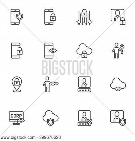 Gdpr Privacy Line Icons Set, Outline Vector Symbol Collection, Linear Style Pictogram Pack. Signs, L