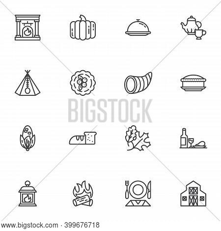 Thanksgiving Day Holiday Line Icons Set, Outline Vector Symbol Collection, Linear Style Pictogram Pa