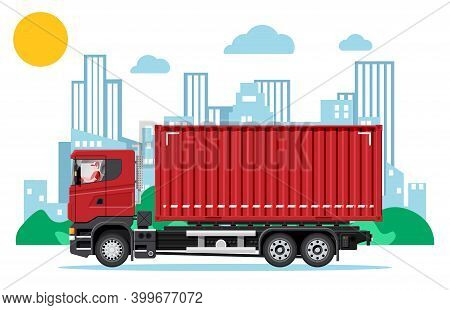 Delivery Container Vehicle At Cityscape Background. Express Delivering Services Commercial Truck. Co