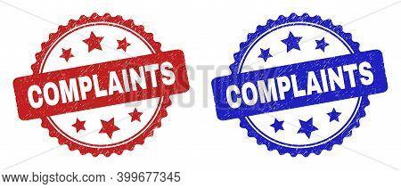 Rosette Complaints Stamps. Flat Vector Distress Stamps With Complaints Text Inside Rosette Shape Wit