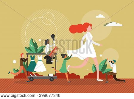 Fashion Show Concept Vector Illustration. Female Model Walks On A Stage In White Dress. Fashion Show