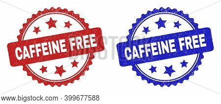 Rosette Caffeine Free Stamps. Flat Vector Distress Seal Stamps With Caffeine Free Message Inside Ros