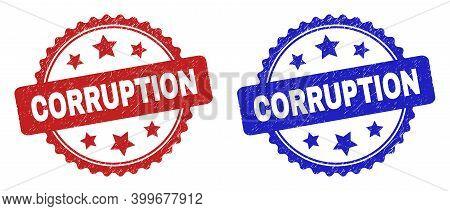 Rosette Corruption Seals. Flat Vector Grunge Seals With Corruption Title Inside Rosette With Stars,