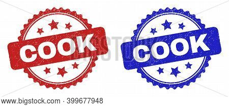 Rosette Cook Seal Stamps. Flat Vector Distress Seal Stamps With Cook Message Inside Rosette Shape Wi
