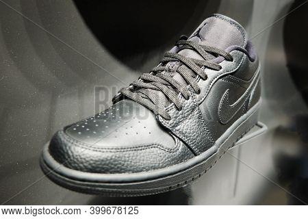 Black Nike Air Jordan 1 Low Sneakers At Retail Store Display. Mersin, Turkey - November 2020