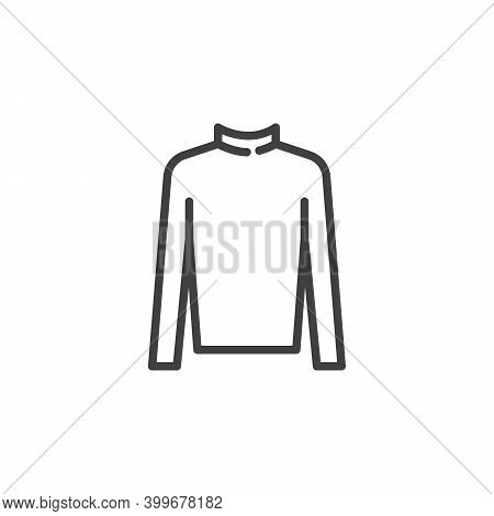 Turtleneck Sweater Line Icon. Linear Style Sign For Mobile Concept And Web Design. Women Turtleneck