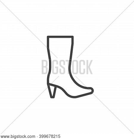 Woman High Heel Shoe Boot Line Icon. Linear Style Sign For Mobile Concept And Web Design. High Boot