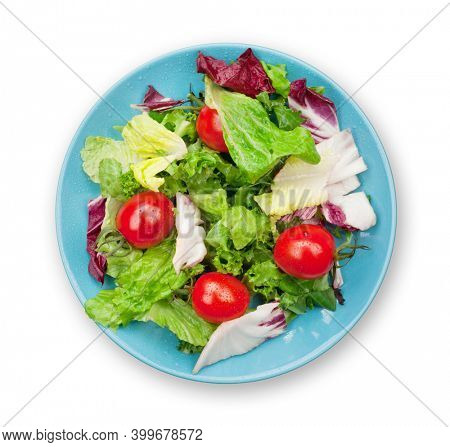Fresh healthy salad with tomatoes. Healthy food. Isolated on white background. Top view flat lay