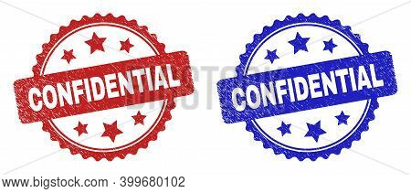 Rosette Confidential Seal Stamps. Flat Vector Distress Seal Stamps With Confidential Phrase Inside R