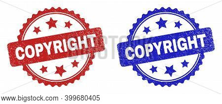 Rosette Copyright Stamps. Flat Vector Scratched Stamps With Copyright Message Inside Rosette With St