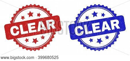 Rosette Clear Seal Stamps. Flat Vector Distress Seal Stamps With Clear Text Inside Rosette Shape Wit