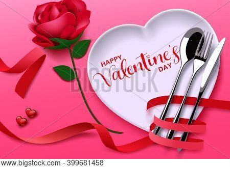 Valentines Date Vector Background Design. Happy Valentine's Day Greeting Text With Heart Plate And R