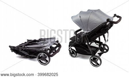 Baby Carriage, Stroller For Twins Isolated On White. Baby Carriage In Folded And Open Condition