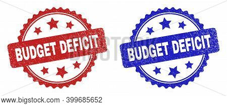 Rosette Budget Deficit Seal Stamps. Flat Vector Textured Stamps With Budget Deficit Phrase Inside Ro