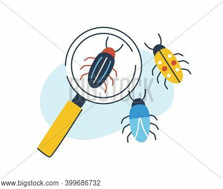 Concept Of Biology, Entomology And Coleopterology. Composition Of Insects And Magnifying Glass. Magn