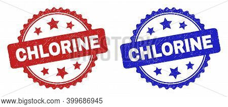 Rosette Chlorine Stamps. Flat Vector Grunge Stamps With Chlorine Message Inside Rosette Shape With S