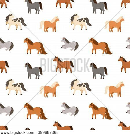 Seamless Pattern Of Different Cute Little Horses. Repeatable Background With Various Childish Pony.
