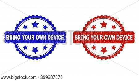 Rosette Bring Your Own Device Seal Stamps. Flat Vector Distress Seal Stamps With Bring Your Own Devi