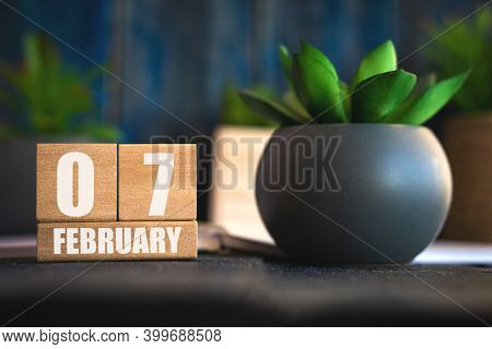 February 7th. Day 7 Of Month, Cube Calendar With Date And Pot With Succulent Placed On Table At Home