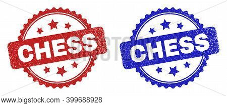 Rosette Chess Seals. Flat Vector Textured Seals With Chess Text Inside Rosette Shape With Stars, In