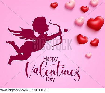 Valentine's Cupid Vector Background Design. Happy Valentine's Day Text With Cupid Character Paper Cu