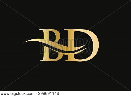 Swoosh Letter Bd Logo Design For Business And Company Identity. Creative Bd Letter With Luxury Conce