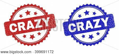 Rosette Crazy Watermarks. Flat Vector Grunge Watermarks With Crazy Message Inside Rosette With Stars