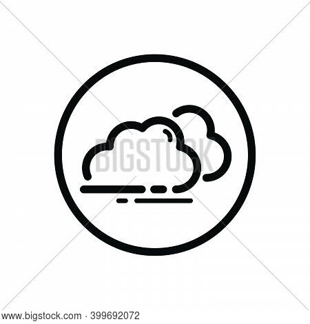 Overcast. Clouds On The Sky. Weather Outline Icon In A Circle. Isolated Vector Illustration