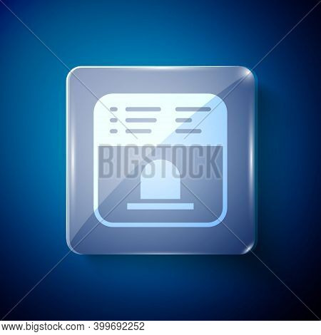 White Ticket Office To Buy Tickets For Train Or Plane Icon Isolated On Blue Background. Buying Ticke