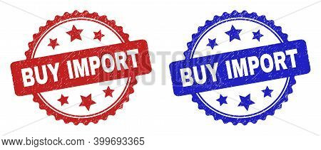 Rosette Buy Import Seal Stamps. Flat Vector Grunge Seal Stamps With Buy Import Title Inside Rosette