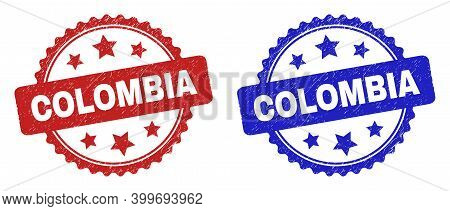 Rosette Colombia Watermarks. Flat Vector Distress Watermarks With Colombia Phrase Inside Rosette Sha
