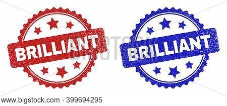 Rosette Brilliant Seal Stamps. Flat Vector Scratched Seal Stamps With Brilliant Phrase Inside Rosett