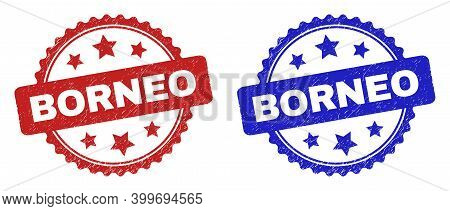 Rosette Borneo Seals. Flat Vector Grunge Seals With Borneo Phrase Inside Rosette With Stars, In Blue