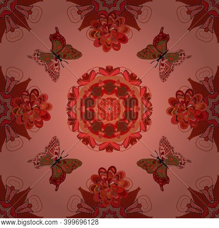 Nature Butterfly Repeat Theme In Red, Pink And Orange Colors. Beautiful Seamless Butterfly Iterative