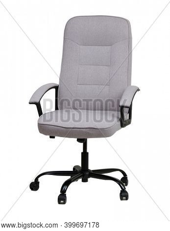 The office chair from grey textile isolated on white backround