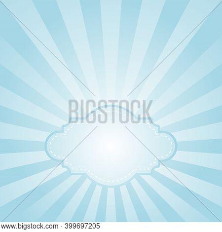 Sunlight Retro Faded Grunge Background With Vintage Frame For Text. Blue Color Burst Background.