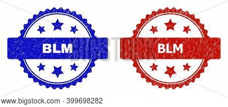 Rosette Blm Watermarks. Flat Vector Scratched Watermarks With Blm Caption Inside Rosette With Stars,