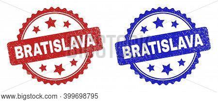 Rosette Bratislava Seal Stamps. Flat Vector Distress Seal Stamps With Bratislava Text Inside Rosette