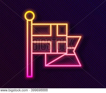 Glowing Neon Line Flag Of England On Flagpole Icon Isolated On Black Background. Vector