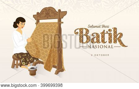 Indonesian Holiday Batik Day Illustration.translation: October 02, Happy National Batik Day