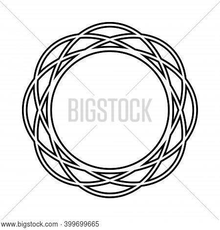 Openwork Round Frames With Black Outline, Vector Isolated Illustration, Design, Decoration, Wedding