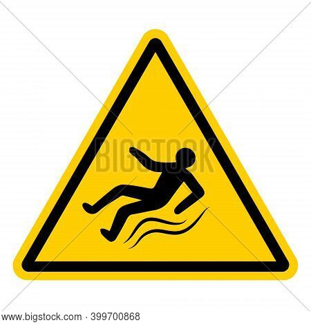 Yellow Warning Sign With A Falling Slipping Person, Vector Sign Of Ice, Slippery Road, Hazard Warnin